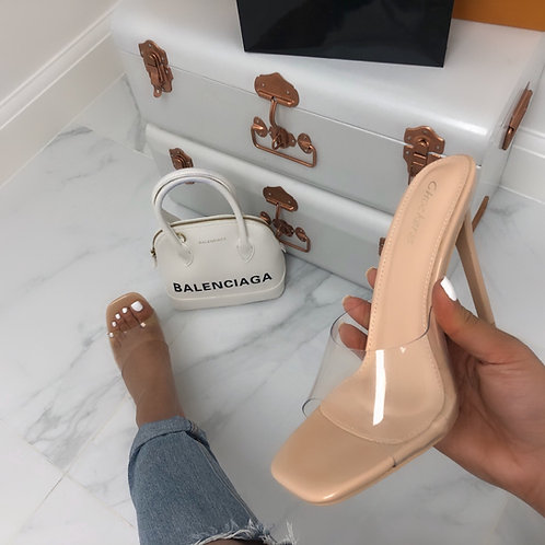 Vienna - Nude Patent Perspex Barely There Square Toe Stiletto Heel
