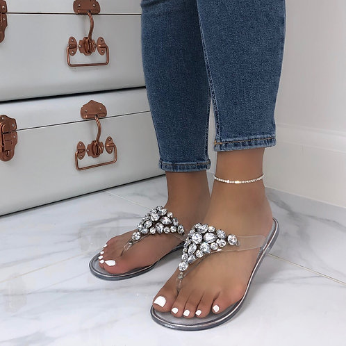 Scarlett - Clear Jelly Silver Large Gem Thong Design Sandals