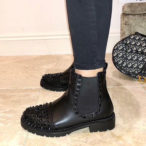Ally - Black Faux Leather Studded Biker Ankle Boot