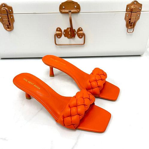 Shanice - Orange Woven Detail Square Toe Low Mule Heels