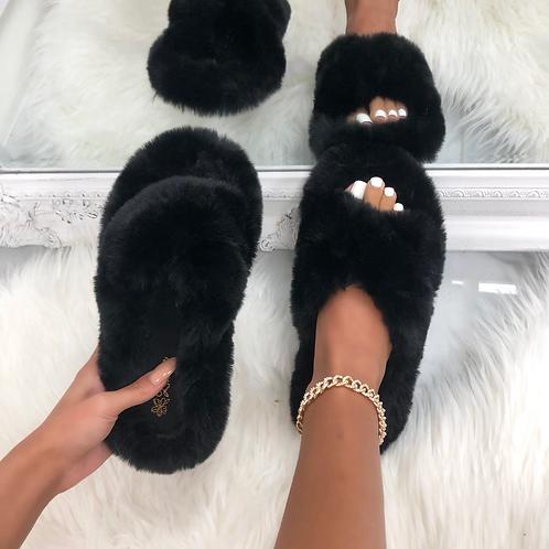 Bear - Black Fluffy Crisscross Slip On Slider Slippers