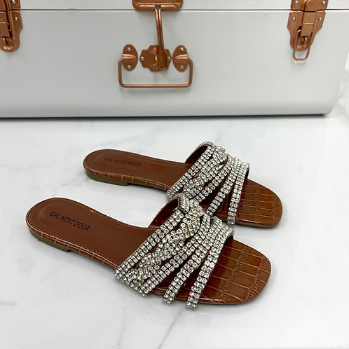 Gina - brown Patent Croc Print with Silver Diamante Detail Flat Slip On Sandals