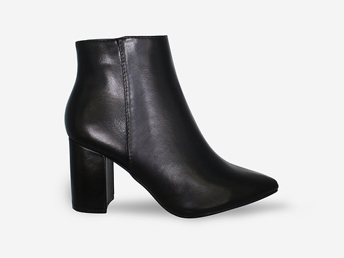 Sandra - Black Faux Leather Pointed Block Heel Ankle Boot