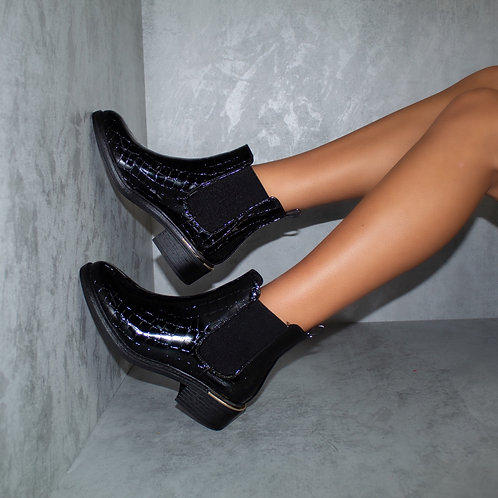 Leila - Black Patent Croc with Gusset Gold Trim Ankle Boots