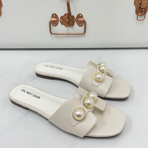 DUBAI - White with  Gold & Pearl Detail Flat Sandals