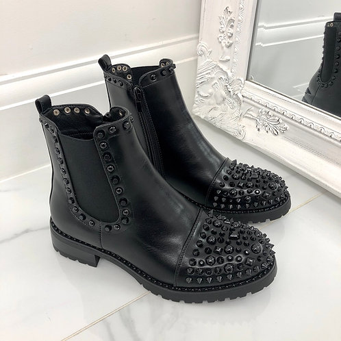 Christine - Black Faux Leather Studded Biker Ankle Boot