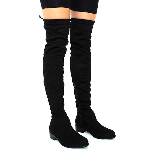 Ray - Black Faux Suede Zip Tie Up Thigh High Boots