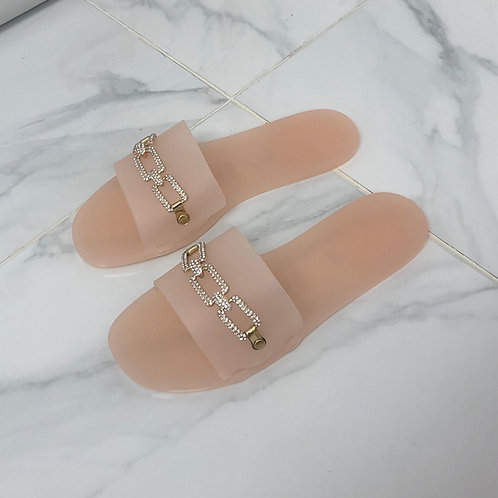 Harper - Blush Pink Jelly Gold Diamanté Chain Slider Sandal