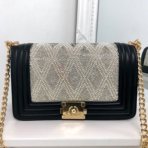 Chantel - Black with Silver/ Pearl Detail Gold Chain & Clasp Cross Body Bag