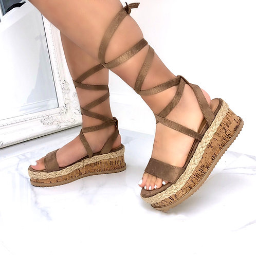 Elena - Mocha Faux Suede Tie Up Cork Flatform Sandals