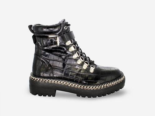 Carla - Black Faux Leather Croc Print Buckle Lace Up Biker Boots