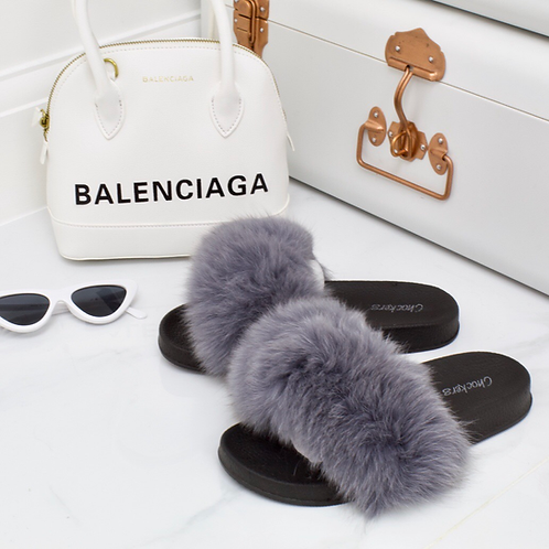 Celine - Grey Faux Fur Fluffy Sliders (PRE- ORDER)