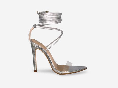 Cara - Silver Metallic Perspex Pointed Toes Tie Up Heel