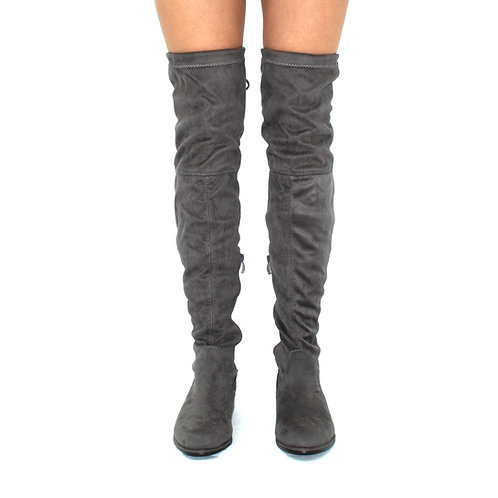 Ray - Grey Faux Suede Zip Tie Up Thigh High Boots