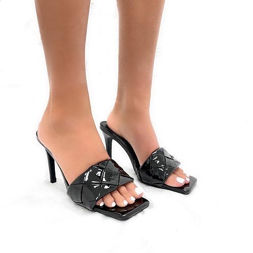 Candice - Black Patent Woven Detail Low Slip On Mule Heels