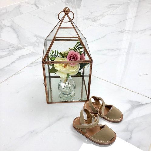 Baby Aariya -  Beige Faux Nubuck Strap On Sandal