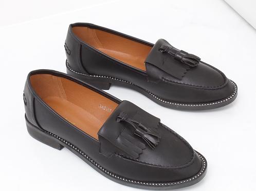 Victoria - Black Vegan Leather Diamante Sole Tassel Loafer