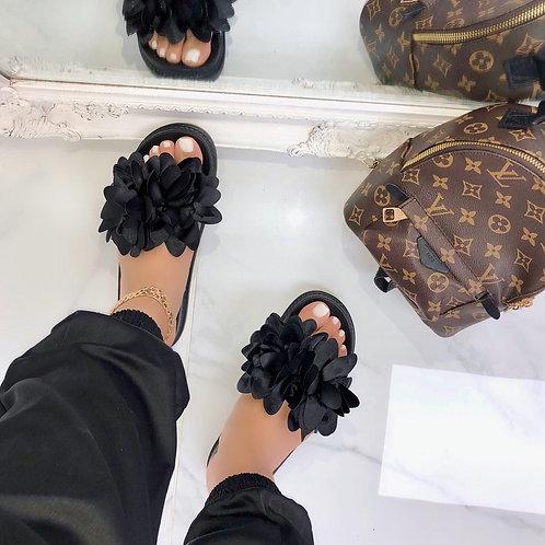 Steph - Black Flower Slip On Slider Sandal