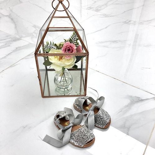 Baby Aariya -  Silver Glitter Tie Up Sandal