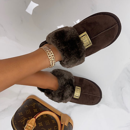 Janie - Chocolate Brown Faux Fur with Gold Detail Slippers
