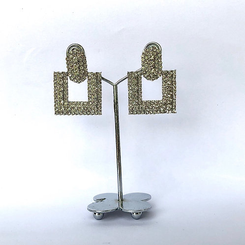 Small Square Silver Diamanté Earrings