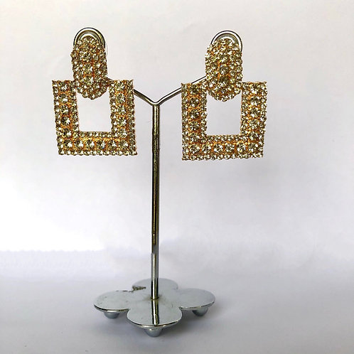 Small Square Gold with Silver Diamanté Earrings