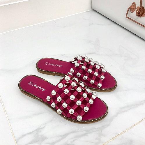 Elouise - Fuchsia Pink Silver Ball Slider Sandals