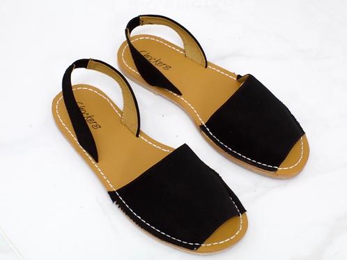 Mia - Black Faux Nubuck Peep Toe Sling Back Sandals