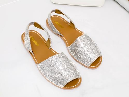 Mia - Silver Glitter Peep Toe Sling Back Sandals