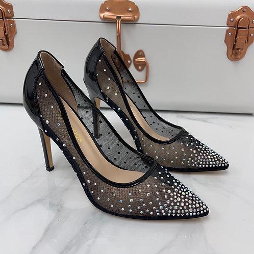 Sofia - Black Patent Mesh Diamante Pointed Toe Heels