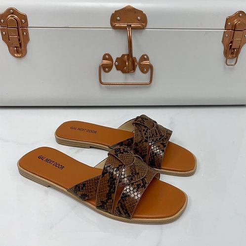Angela - Brown Snake Print Strappy Knot Square Toe Flat Slip On Sandal
