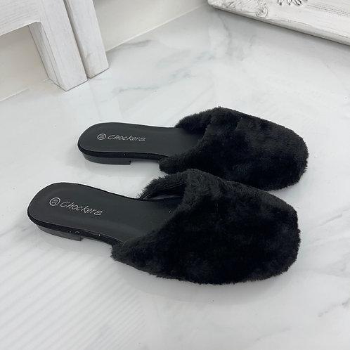 Talliah - Black Faux Fur Slip On Sliders
