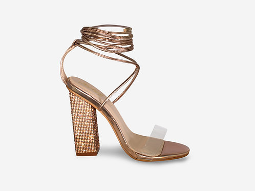 Ariel - Rose Gold Perspex Tie Up Diamante Block Heel