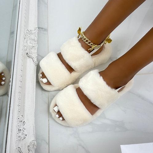 Kulture - Cream Double Stripe Fluffy Sling-Back Slippers