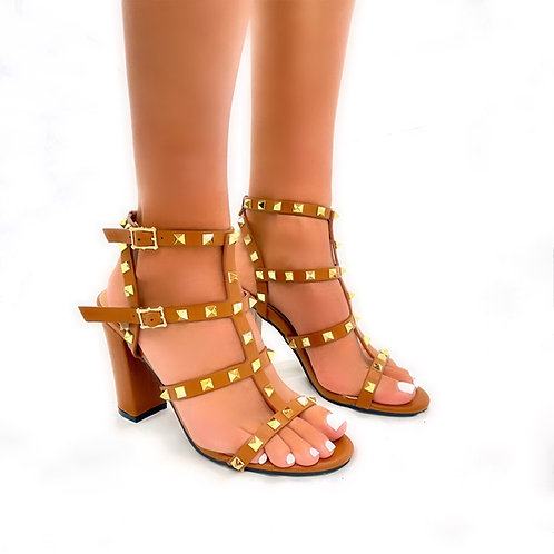 Roxanne - Tan Strappy with Gold Stud Detail Block Heels