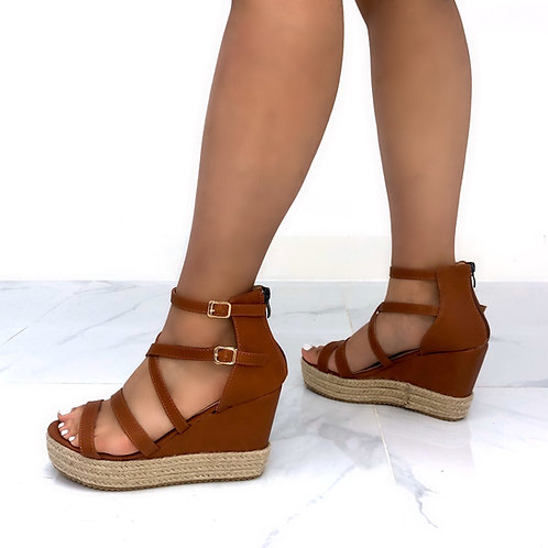 Luna - Brown Strappy Woven Sole Wedges