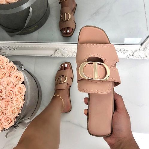 Dakota - Blush Pink with Gold Detail Slip On Flat Sandal