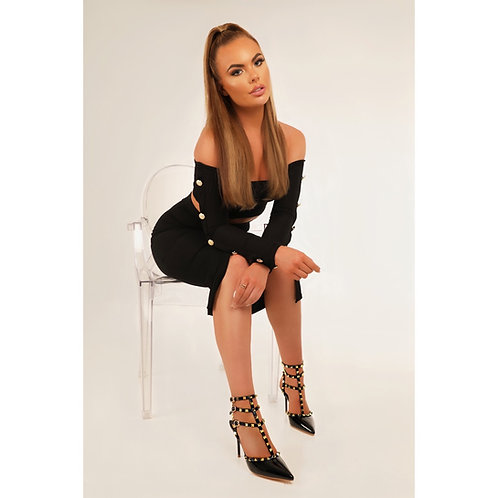 Verity - Black Patent with Black Strappy Gold Studded Pointed Stiletto Heels