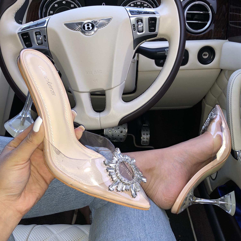 Thumbnail: Giselle - Nude Patent Perspex Diamante Detail Heel Mule