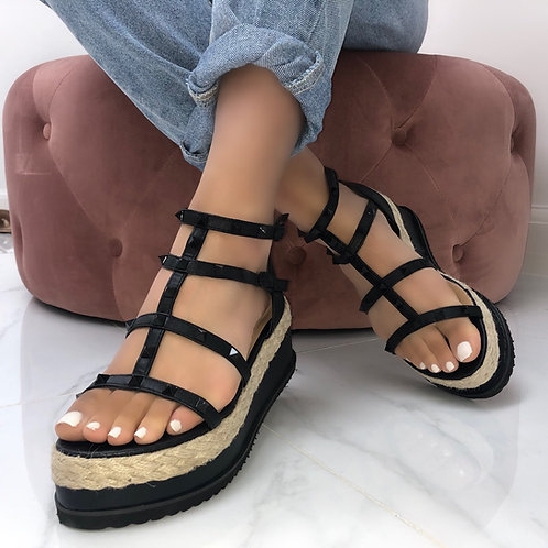 Halle - Black Studded Woven Sole Flatform Wedge Sandal
