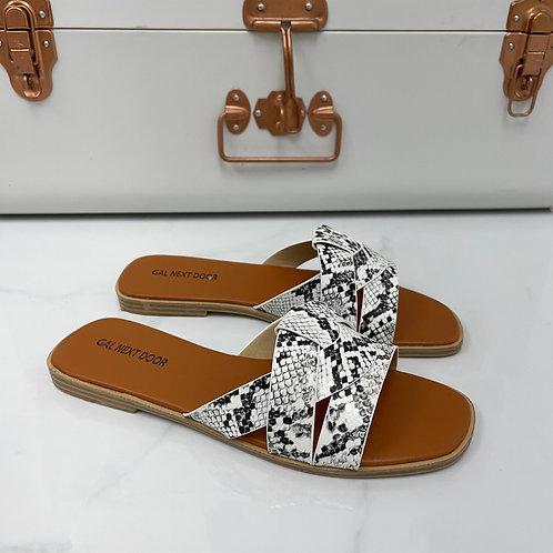 Angela - White Snake Print Strappy Knot Square Toe Flat Slip On Sandal