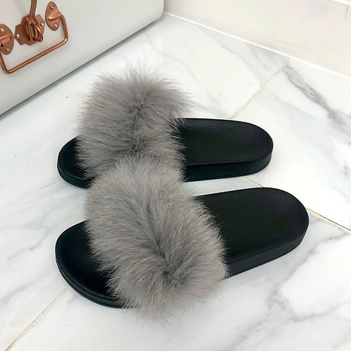 Celine - Light Grey Faux Fur Fluffy Sliders