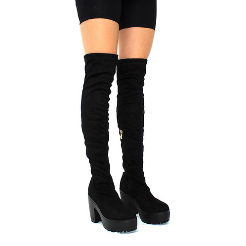 Addison- Black Faux Suede with Black Chunky Sole Zip Up Thigh High Boots
