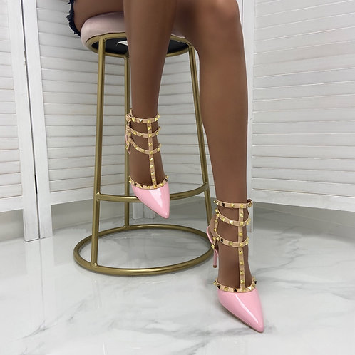 Verity - Pink Patent with Nude Strappy Gold Studded Pointed Stiletto Heels
