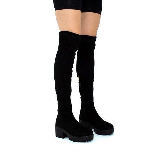 Elise- Black Faux Suede with Black Sole Zip Up Thigh High Boots