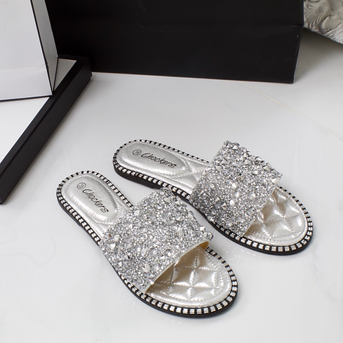 Summer - Silver Jewel Diamanté Flat Sandal