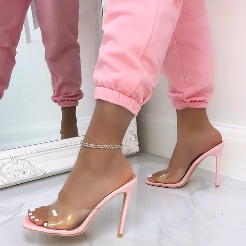 Vienna - Pink Perspex Barely There Square Toe Stiletto Heel
