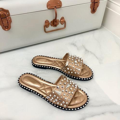 Rosie- Rose Gold and Silver Studded Slip On Slider Sandal