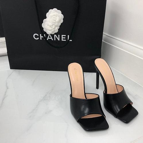 Amber - Black Square Toe Stiletto Heel