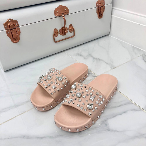 Mollie -  Blush Pink with Silver Studs and Spikes Flat Slip On Sliders